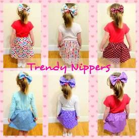 *** £5 SPECIAL **** handmade girls skirts and hair bow sets