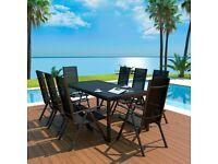 9 Piece Outdoor Dining Set Aluminium and WPC Black-42771