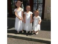 3x Moonsoon wedding flower girl dresses Ivory + 3x golden shoes