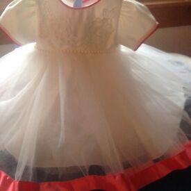 baby girls dress , bolero headband and hat ,