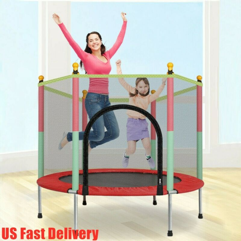 Kids 5FT Trampoline Play Exercise Jumping Bed Round W/Safety Enclosure Net Pad