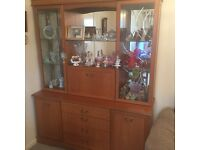 Solid teak sideboard with glass display cupboards