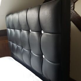 Single Bed with Mattress - Black leather