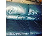 Dark blue leather looking 2 seat sofa