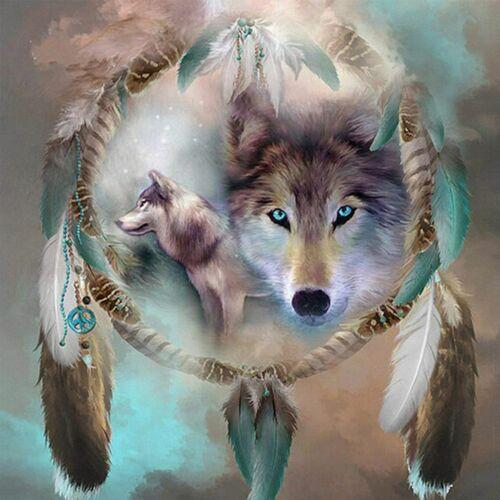 5D Set Full Drill Wolf Dream Catcher Diamond Painting Embroi