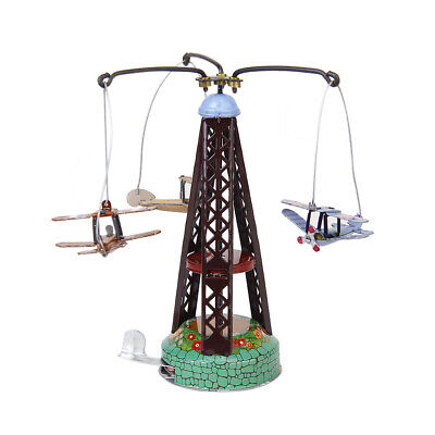Retro Wind Up Spinning Planes Airplane Aeroplane Carousel Clockwork Tin Toy