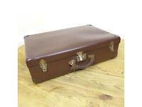 Vintage Brown Suitcase Faux Leather with Key - Mid Century