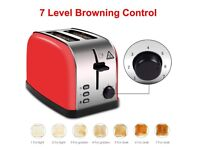 *BRAND NEW IN BOX RRP £23.99* LATITOP Red 2-Slice Toaster