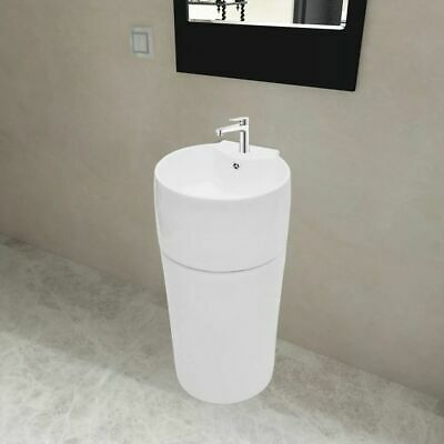 vidaXL Stand Bathroom Basin w/ Overflow&Faucet Hole Ceramic White Vessel -