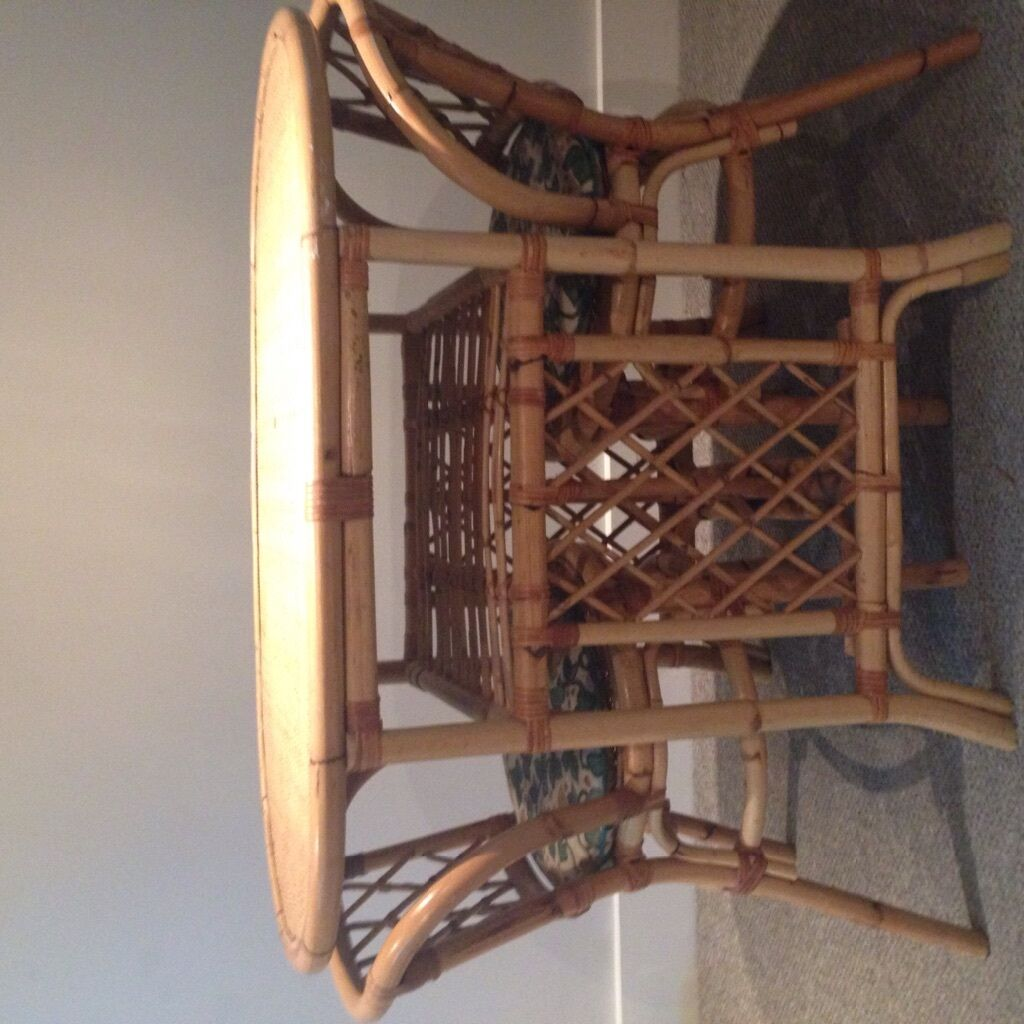 Wicker Table And 2 Chairs With Cushions- Perfect For