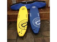 Two brand new sort board surfboards used once