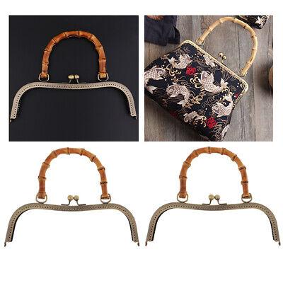 2x 27cm Taschenbügel Rahmen Taschenverschluss mit Bambusgriff für Handtaschen