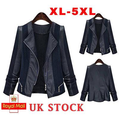 Plus Size Womens Jacket Ladies Suede Leather Flight Coat Zip Up Biker Tops 20-28