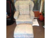 DELIGHTFUL ARMCHAIR WITH MATCHING FOOTSTOOL - VREY GOOD CONDITION