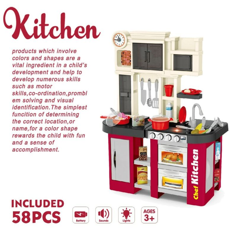 Kitchen Play Set Pretend Baker Kids Toy Cooking Playset Girl