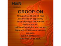 GROOP-ON offer. Half head highlights and cut and blowdry