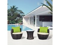 Outsunny Conservatory Patio Rattan Furniture Vase Chair Set Stackable 3 PC