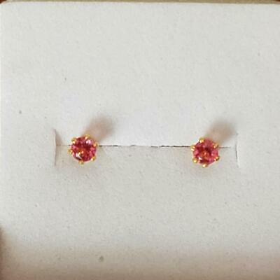 Small Tiny New Yellow Gold Filled 6 Prong Round Ruby Red CZ Stud Post Earrings