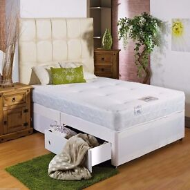 FREE & FAST DELIVERY //DOUBLE DIVAN BED BASE INCLUDING MATTRESS (Headboard Optional)