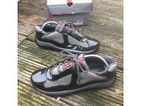 Prada patent dark grey trainers size 7