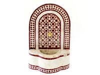Small Outdoor Water Fountain, Maroon Moroccan Garden Mosaic Fountain 66 by 43cm