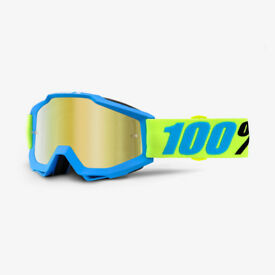 New Adult 100% Accuri Tear Off Goggles Motocross Belize Mirror Gold Lens