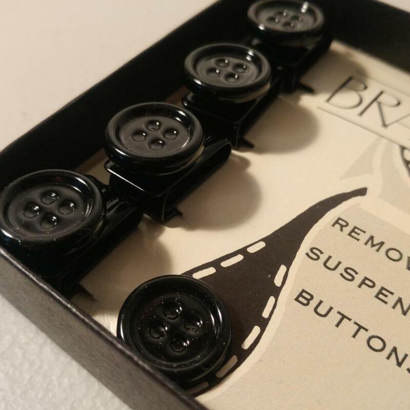 Black Metal Suspender Buttons Braceline Brand NEW Removable Buttons