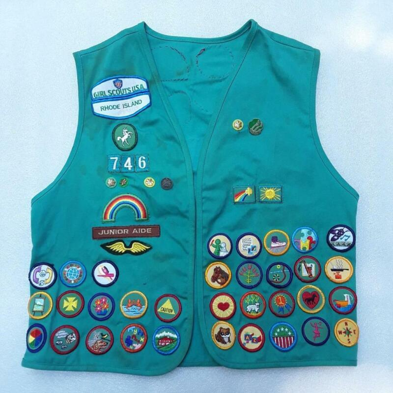 Vintage Girl Scout Vest with Many Badges Rhode Island 1990s Green