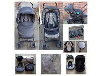 Silvercross 3D black monodot travel system + Ventura car seat + base + accessories