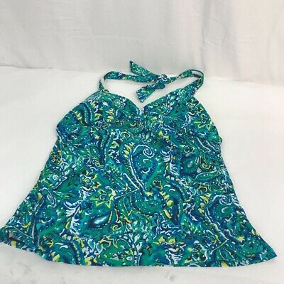 Chaps Womens Tankini Top Swimsuit Multicolor Paisley Soft Cup Halter Neck 12