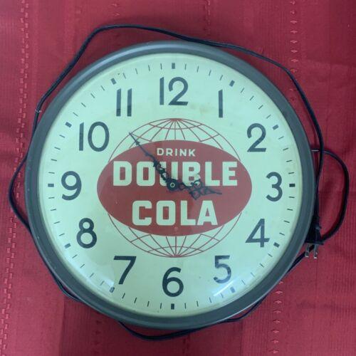Vintage Retro 1950s Double Cola Soda Advertising Electric Wall Clock