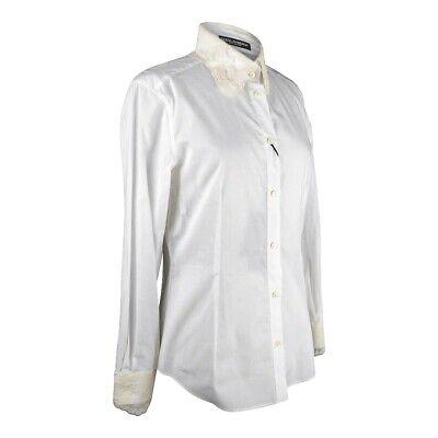 Dolce&Gabbana Top White Stretch Shirt Ecru Lace Details 46 Fits 10 NWT