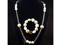 VIS MOMENT Fiji – Costume Jewellery Cream Tan Necklace Bracelet Set