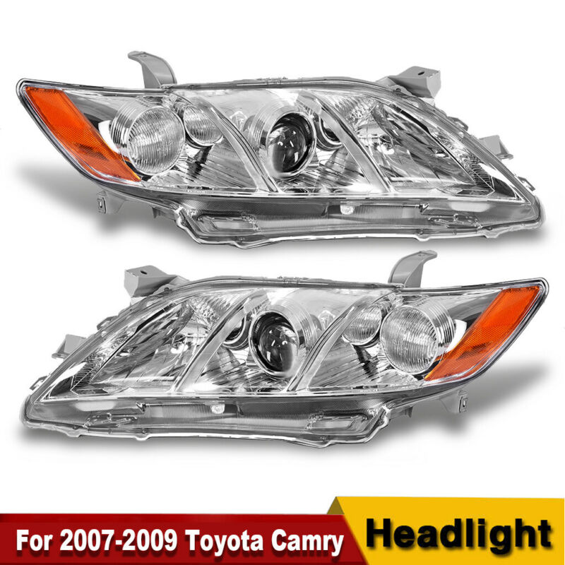For Toyota Camry 2007-2009 Headlight Assembly Black Housing Amber Reflector Clear Lens Headlamps Replacement Driver and Passenger Side