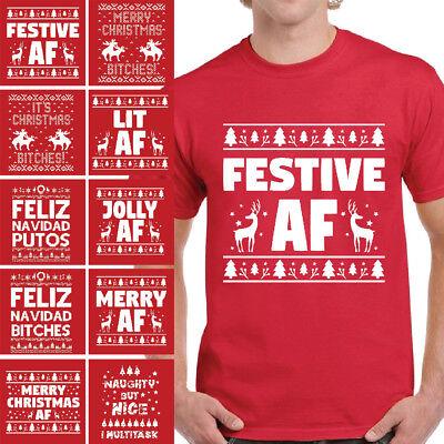 Festive Christmas Tshirts for Men Merry Christmas Bitches Ugly Christmas T-shirt ()