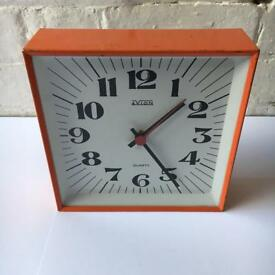 Avion Orange Tin Clock