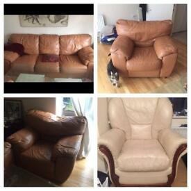 BROWN FAUX LEATHER 4 SEATER AND 3 CHAIR SOFA