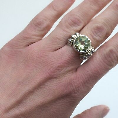 New LAGOS Caviar Two Tone & Green Amethyst Prasiolite Statement Ring Size 7 NWT
