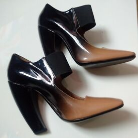 100% GENUINE Prada Shoes UK Size 6 Ombre Black Patent Leather