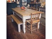 Rustic reclaimed farmhouse table - kitchen table - dining table