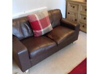 Two brown leather sofas (2 seaters)