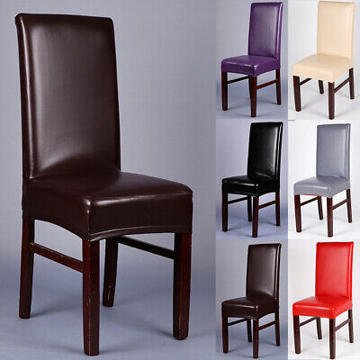 PU Leather Chair Covers Wedding Dining Chair Cover Home Slip Covers 1/4/6/10 PCS ()