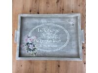 Shabby Chic Vintage 1930's Solid Oak Wooden Tray ~ Rustic aged effect ~ POSTAGE AVAILABLE