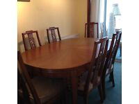 Dining Room Table, 8 chairs, large Display Cabinet, matching, in Teak.