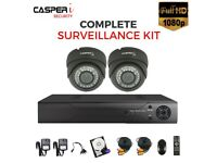 CASPERi 4CH DVR with 2 NIghtVision (30M-IR) Varifocal (2.8-12mm) HD Dome Cameras & 1TB HDD