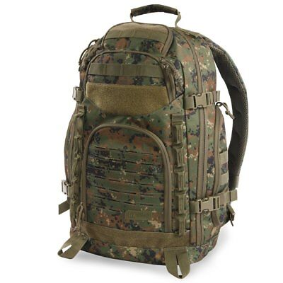 Marines USMC MARPAT Marines Woodland Military Camo Backpack Pack Molle USA Flag