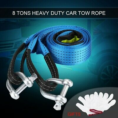 5M 8 Ton Tow Rope Towing Pull Strap Heavy Duty 4x4 Offroad Car Truck Recovery UK