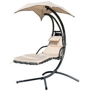 Garden Hanging Chaise Lounge Chair Seat Outdoor Swing Hammock Canopy W/Arc  Stand