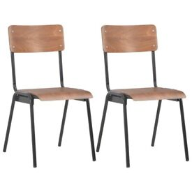 Dining Chairs 2 pcs Brown Solid Plywood Steel-280084