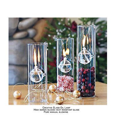2x Clear Decorative Glass Oil Lamp Bedroom Light Kerosene Burner for Wedding Dec